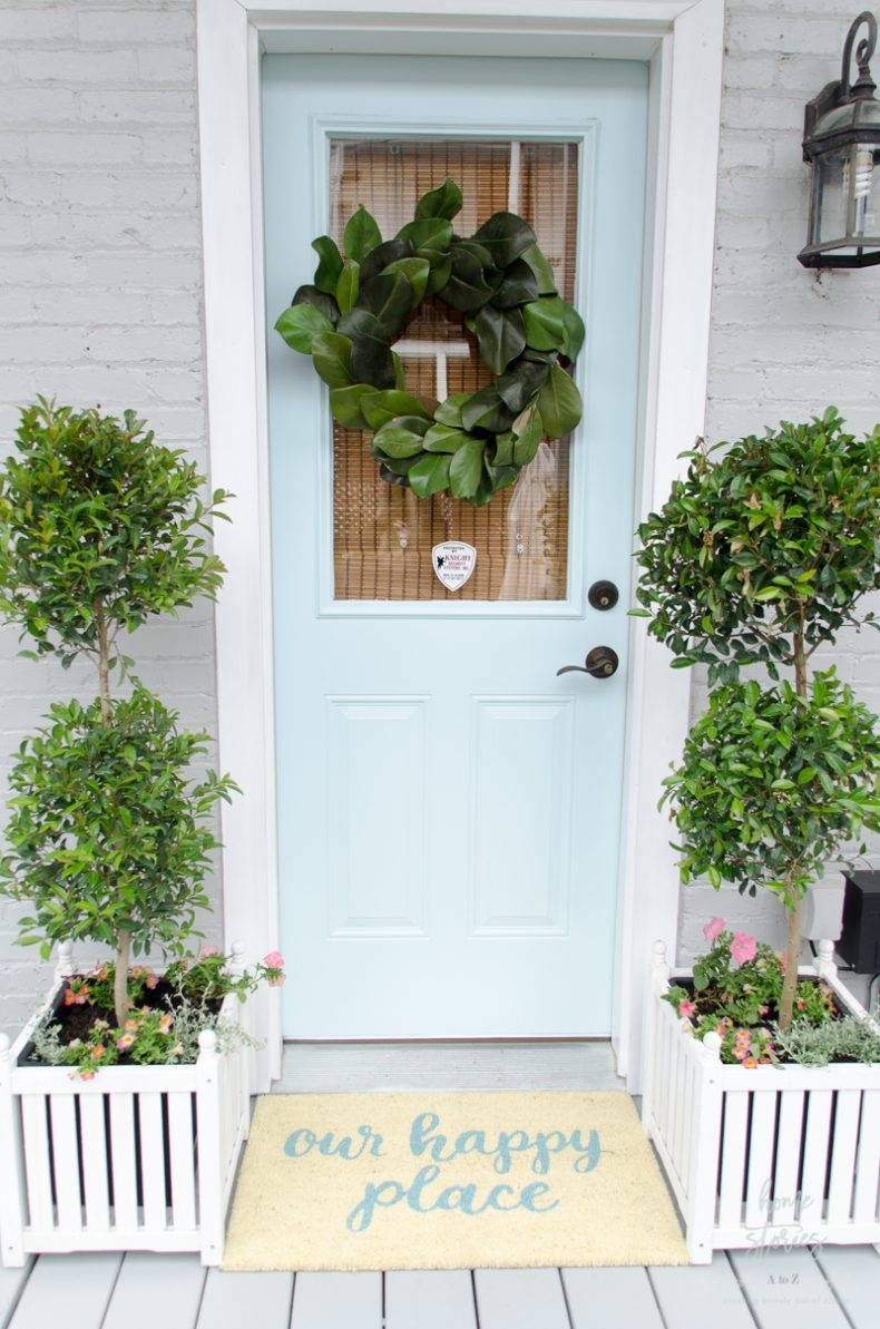 Beautiful Front Door Paint Color Ideas - Behr Peek a Blue by Home Stories A to Z