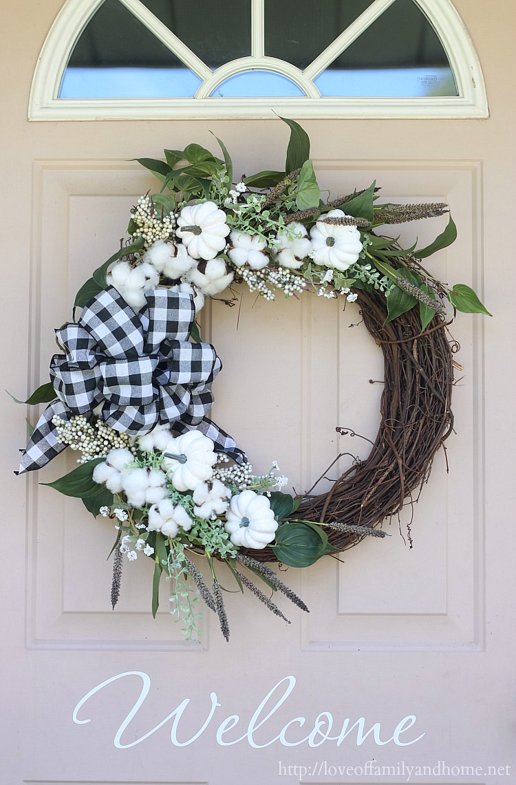 20 DIY Fall Wreath Ideas - Buffalo and Pumpkin Fall Wreath by Love of Family and Home