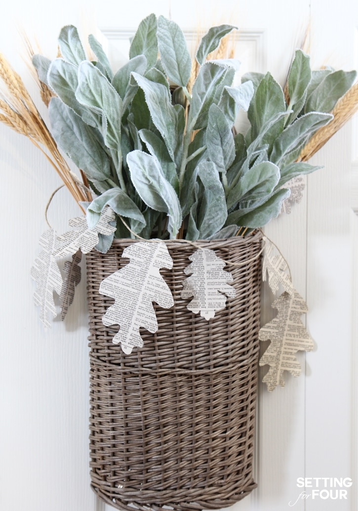 20 DIY Fall Wreath Ideas - Easy DIY Bookpage Garland Basket Wreath by Setting for Four