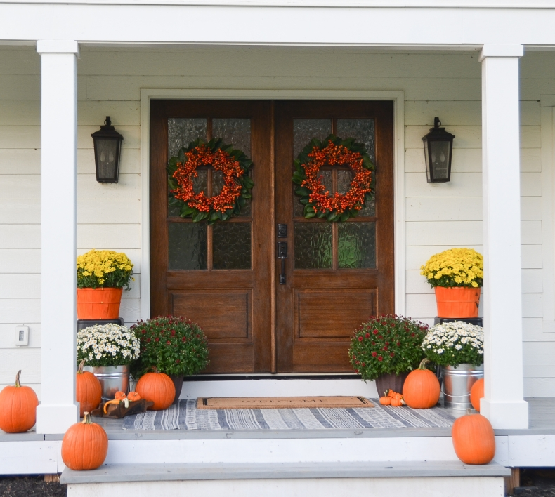 20 DIY Fall Wreath Ideas - Fall Farmhouse Porch by Beneath My Heart