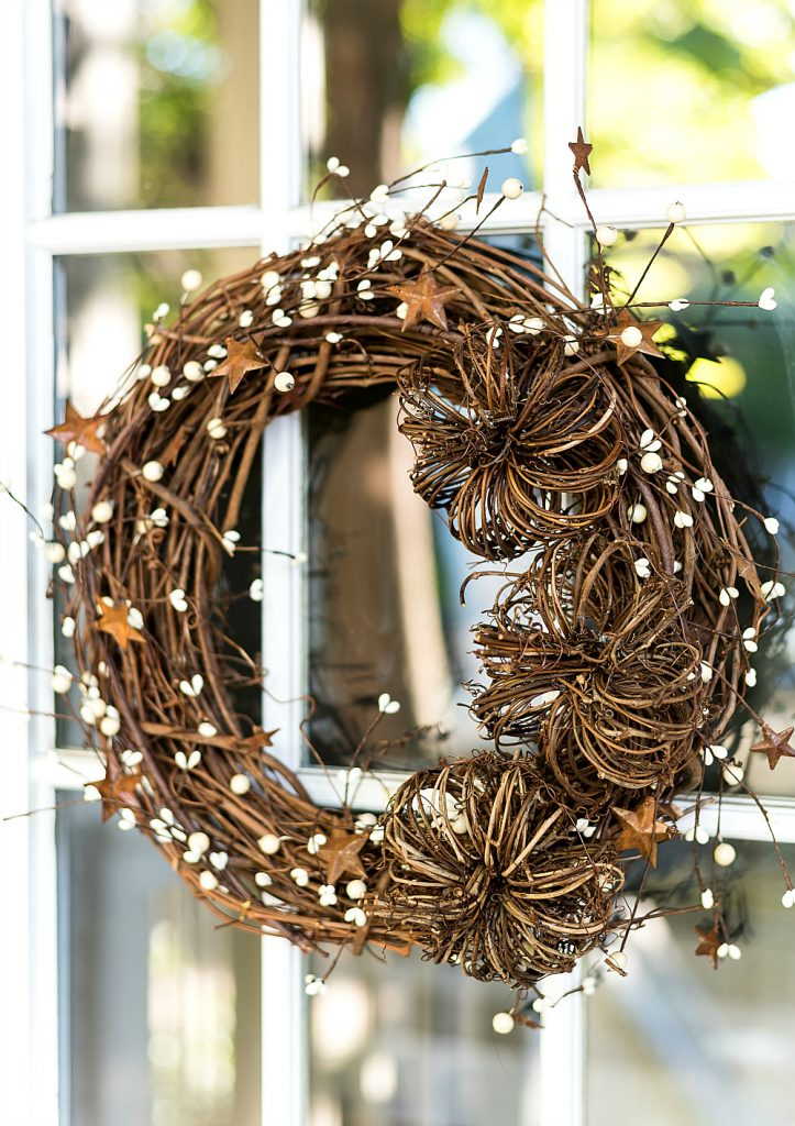20 DIY Fall Wreath Ideas - Grapevine Berry Pumpkin Fall Wreath by It All Started with Paint