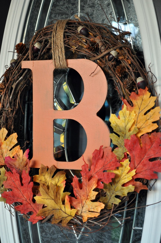 20 DIY Fall Wreath Ideas - Wreath with Initials by Little Glass Jar
