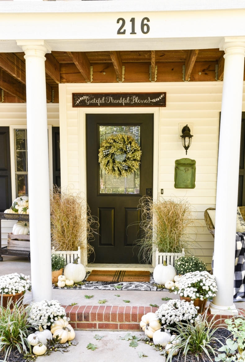 Black and White Fall Front Porch by Home Stories A to Z
