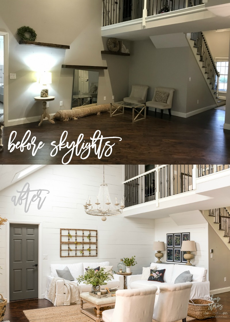 Image of: Vintage Chic Living Room Makeover Reveal With Velux Skylights