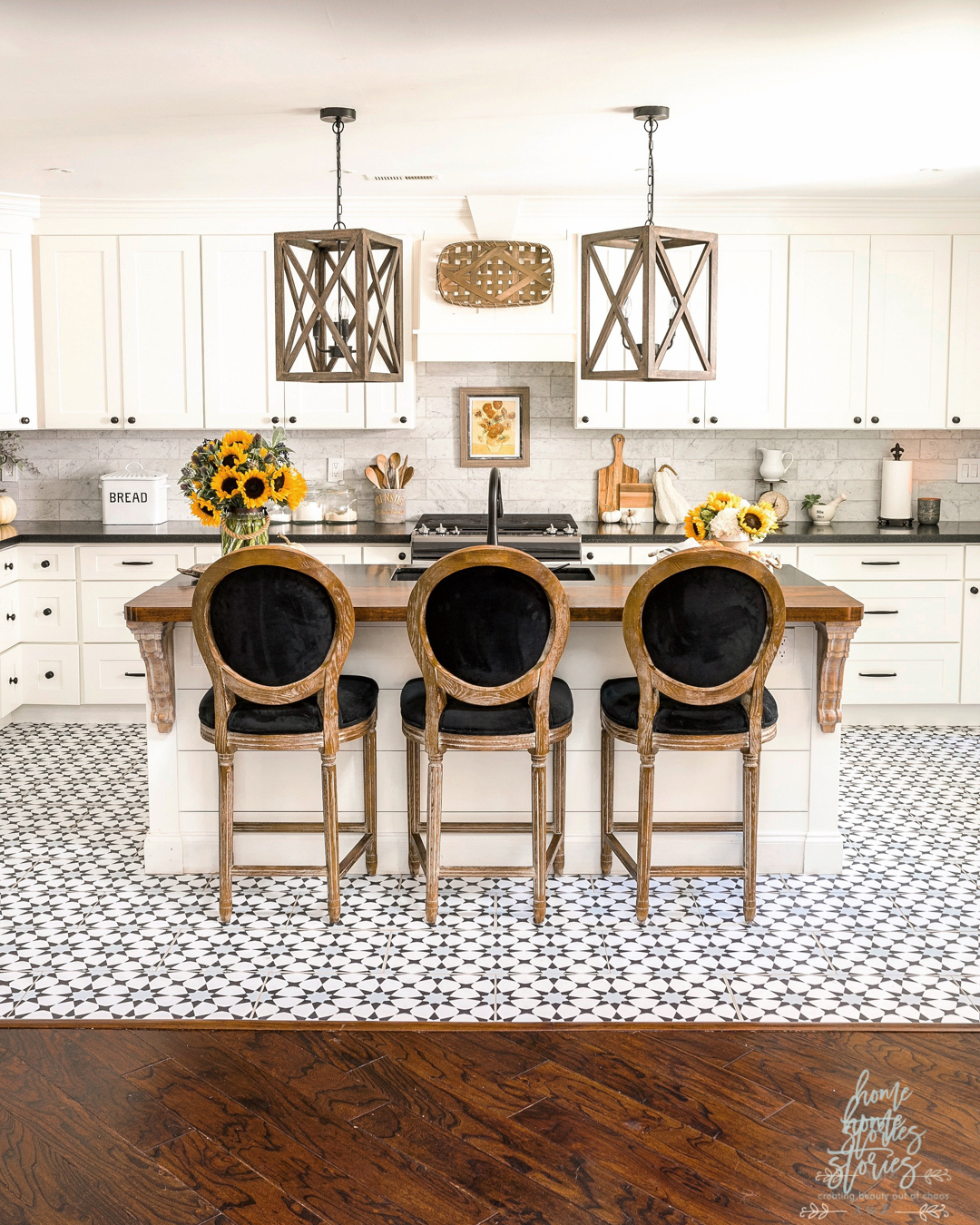 Early Fall Kitchen Decorating Ideas: Sunflowers & Hydrangeas