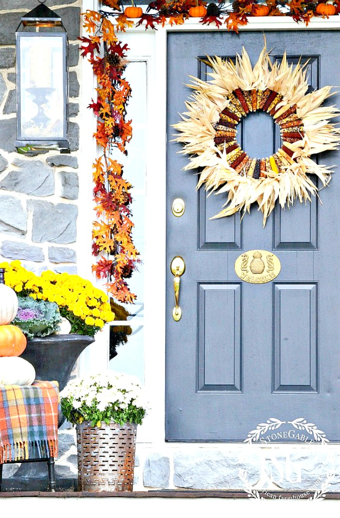 Traditional Fall Porch Decor Ideas - A Welcoming Fall Front Porch by Stone Gable Blog