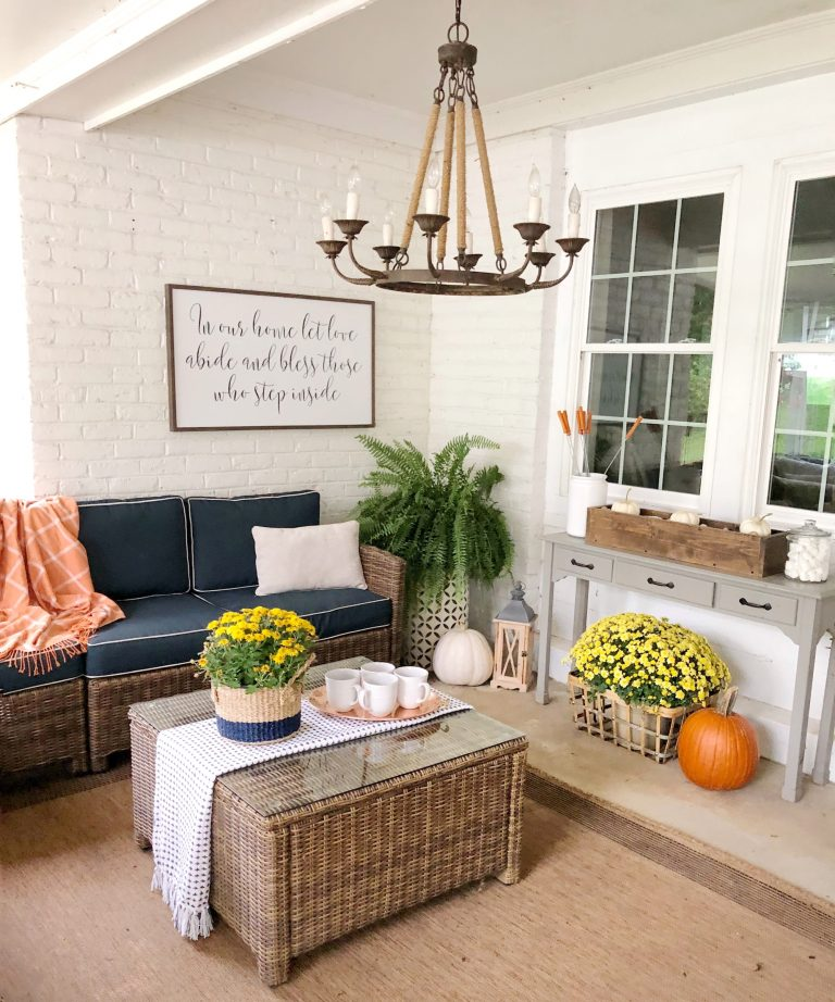 Traditional Fall Porch Decor Ideas - Back Patio Fall Decor by Beneath My Heart
