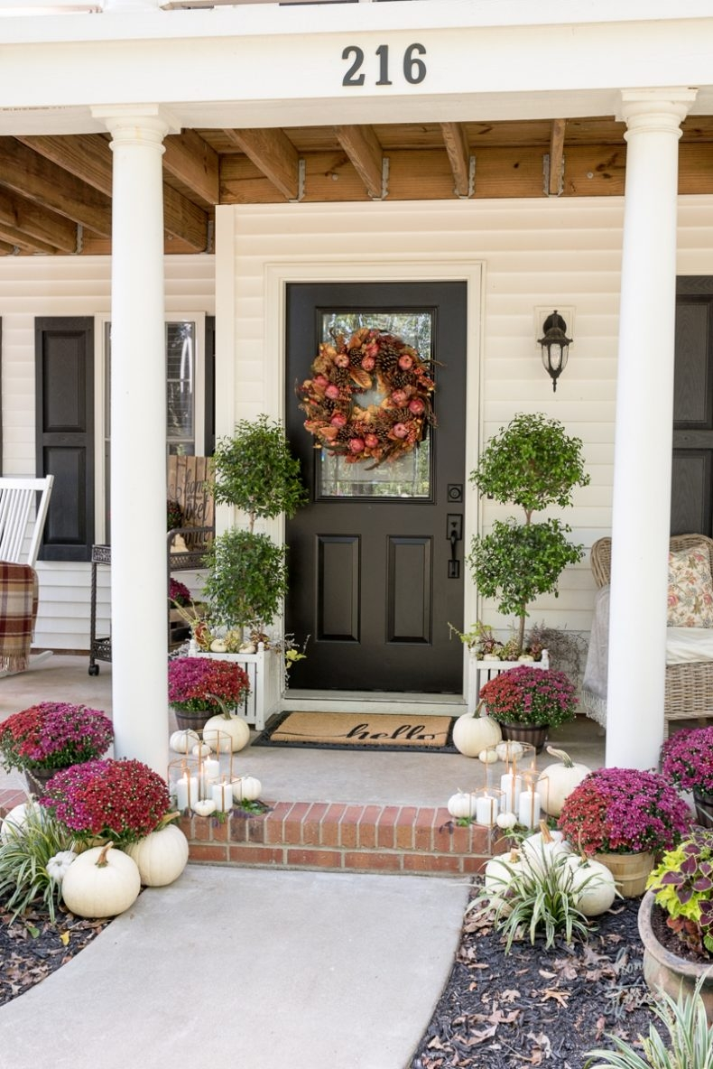 Traditional Fall Porch Decor Ideas - Red and Plum Mums by Home Stories A to Z