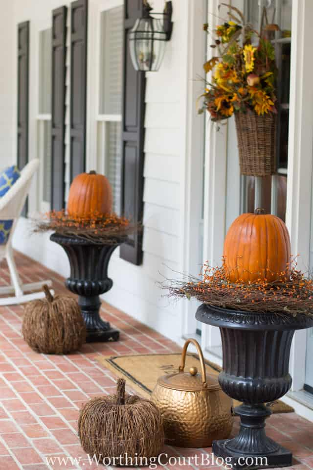 Traditional Fall Porch Decor Ideas - Simple Fall Front Porch by Worthing Court Blog