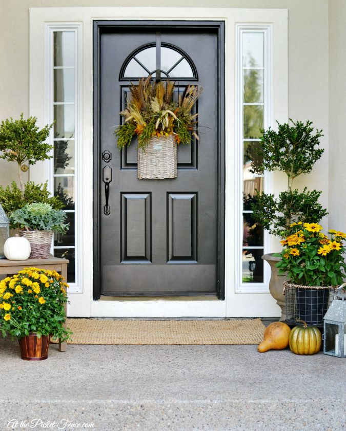 Traditonal Fall Porch Decor Ideas - Fall Front Porch by At the Picket Fence
