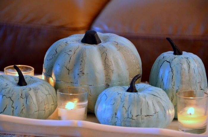 DIY Pumpkin Painting Ideas - Blue Crackle Pumpkins by Home Stories A to Z