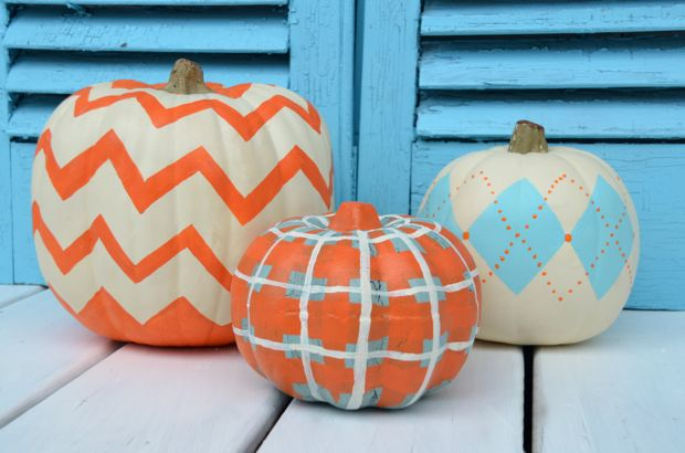 DIY Pumpkin Painting Ideas - Chevron, Argyle, and Plaid Pumpkins by Home Stories A to Z