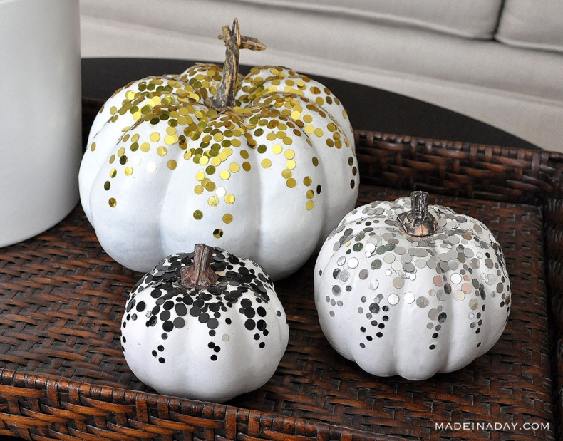 DIY Pumpkin Painting Ideas - Confetti Pumpkins by Made in a Day