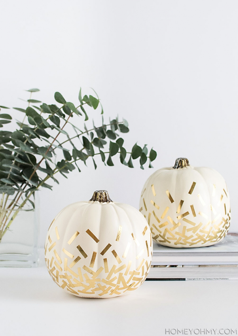 DIY Pumpkin Painting Ideas - DIY Confetti Pumpkins by Homey Oh My