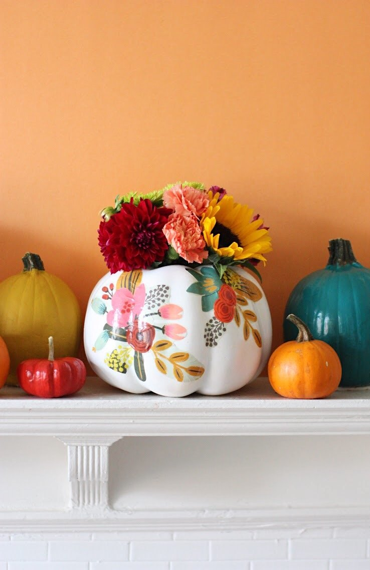 DIY Pumpkin Painting Ideas - DIY Floral Pumpkin Vases by Pretty Life Girls