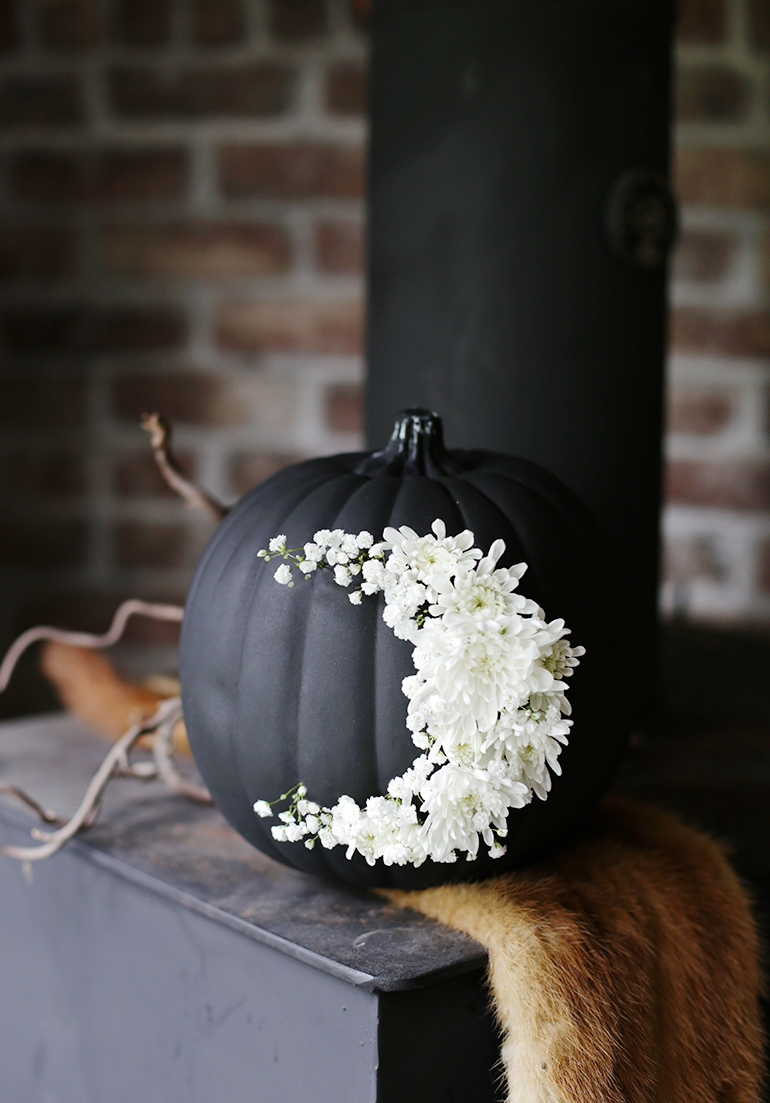 DIY Pumpkin Painting Ideas - DIY Fresh Floral Moon Pumpkin by The Merry Thought
