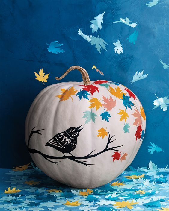 DIY Pumpkin Painting Ideas - Fall Leaves Pumpkin by Martha Stewart Staff