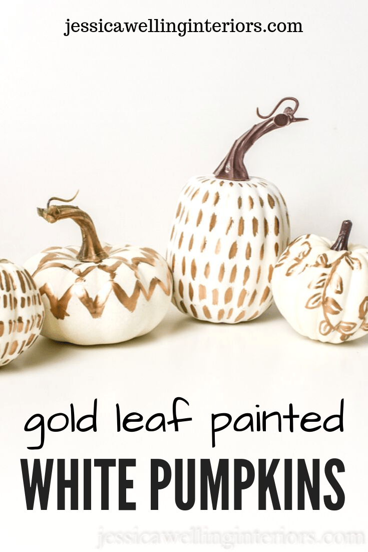 DIY Pumpkin Painting Ideas - Gold Leaf Painted White Pumpkins by Jessica Welling Interiors