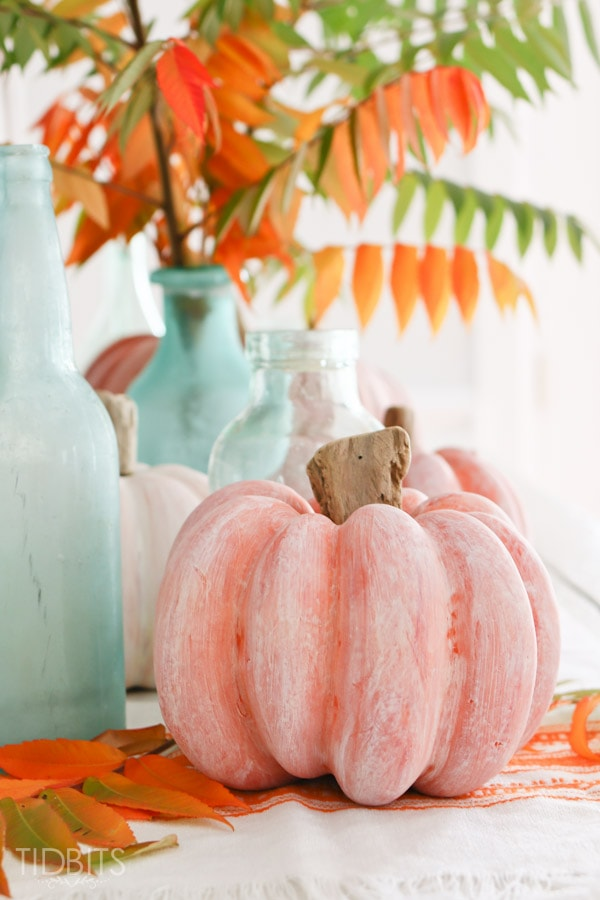 DIY Pumpkin Painting Ideas - How to White Wash a Pumpkin by Tidbits