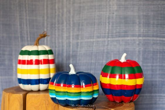DIY Pumpkin Painting Ideas - Hudson Bay Blanket Inspired Painted Pumpkins by Heathered Nest