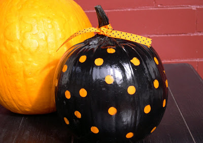 DIY Pumpkin Painting Ideas - Polka Dot Pumpkin by Home Stories A to Z
