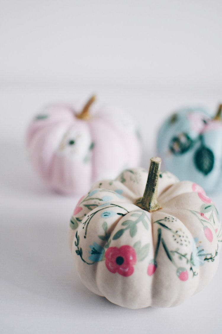 DIY Pumpkin Ideas - Floral Paper Inspired Pumpkins by For All Things Pretty