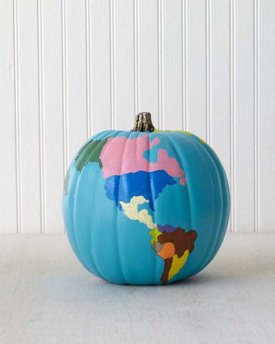 DIY Pumpkin Painting Ideas - The Globe Pumpkin by Martha Stewart Staff