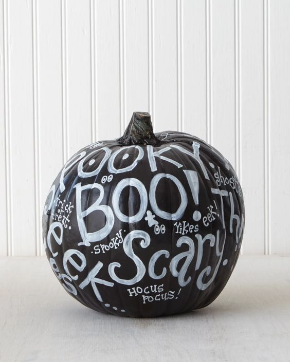 DIY Pumpkin Painting Ideas - Typography Pumpkin Idea by Martha Stewart Blog