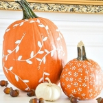 DIY Pumpkin Painting Ideas - White Patterned Pumpkin by Stone Gable Blog
