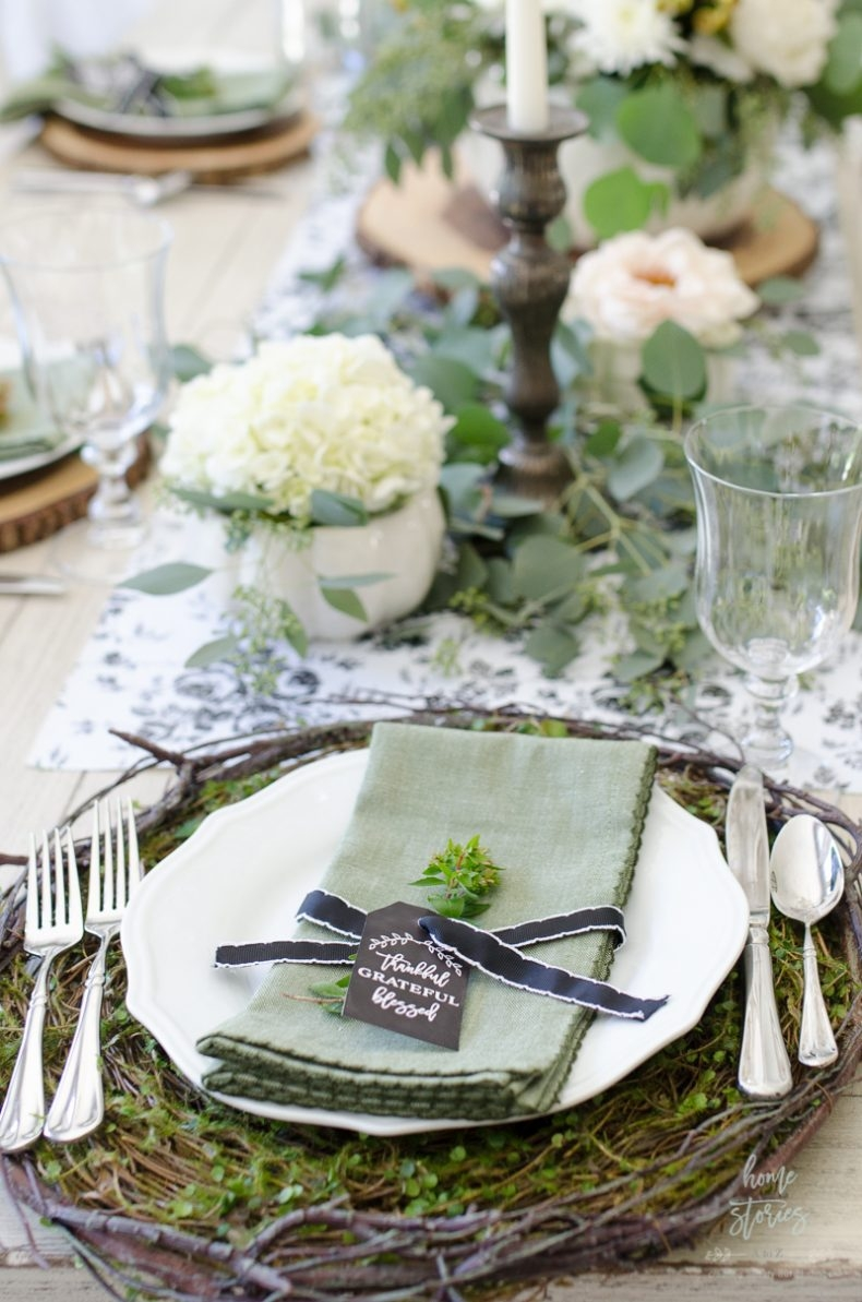Fall Dining Room Ideas - Elegant Black, White, and Green Fall Tablescape by Home Stories A to Z