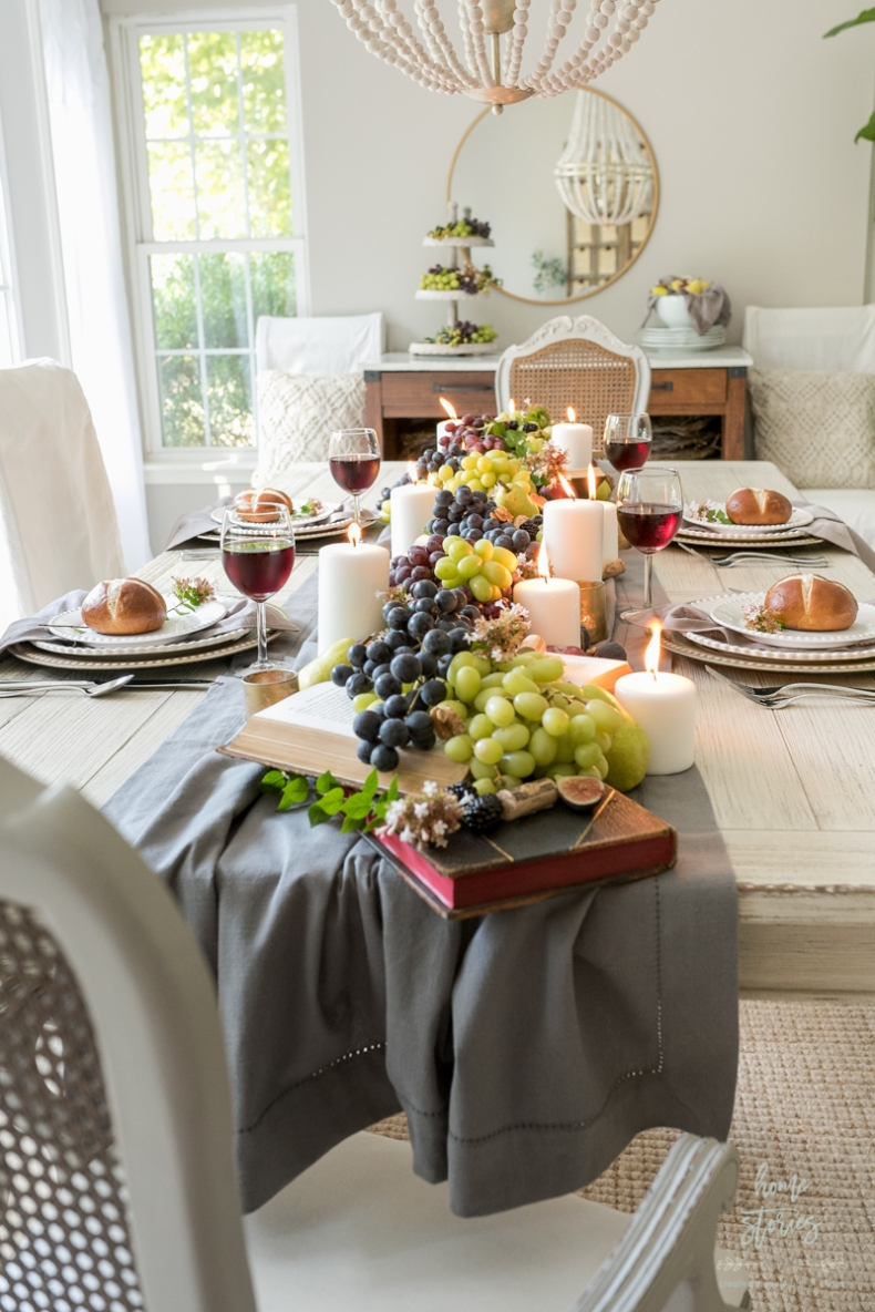 Fall Dining Room Ideas - Fall Harvest Tablescape by Home Stories A to Z
