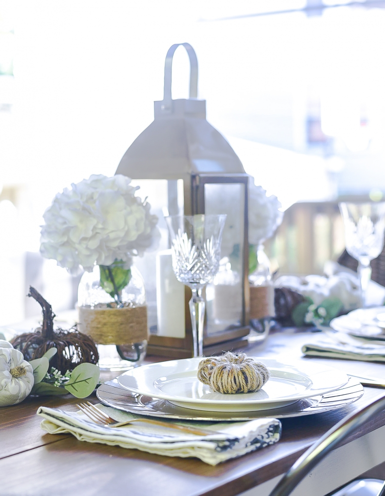Fall Dining Room Ideas - Fall Table Setting in Gray, White, and Jute by It All Started With Paint