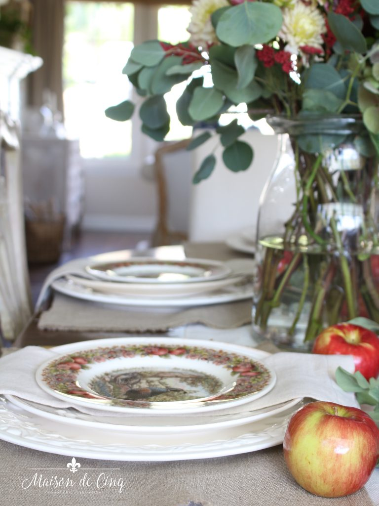 Fall Dining Room Ideas - Fall Table using Apples by Mason de Cinq