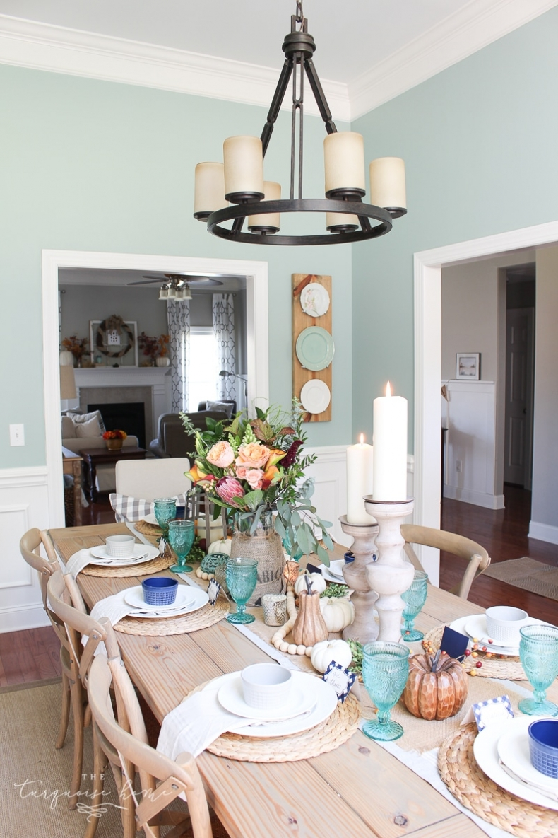 Fall Dining Room Ideas - Farmgirl Flowers Fall Tablescape by The Turquoise Home