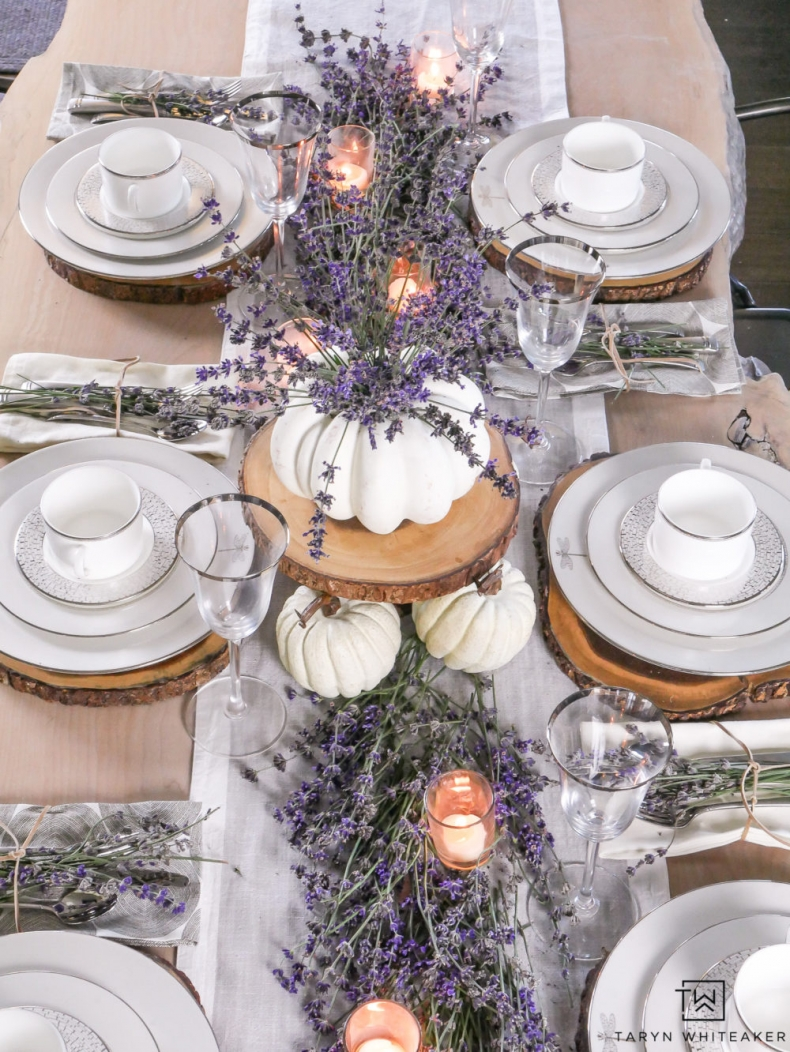 Fall Dining Room Ideas - Fresh Lavendar Fall Tablescape by Taryn Whiteaker