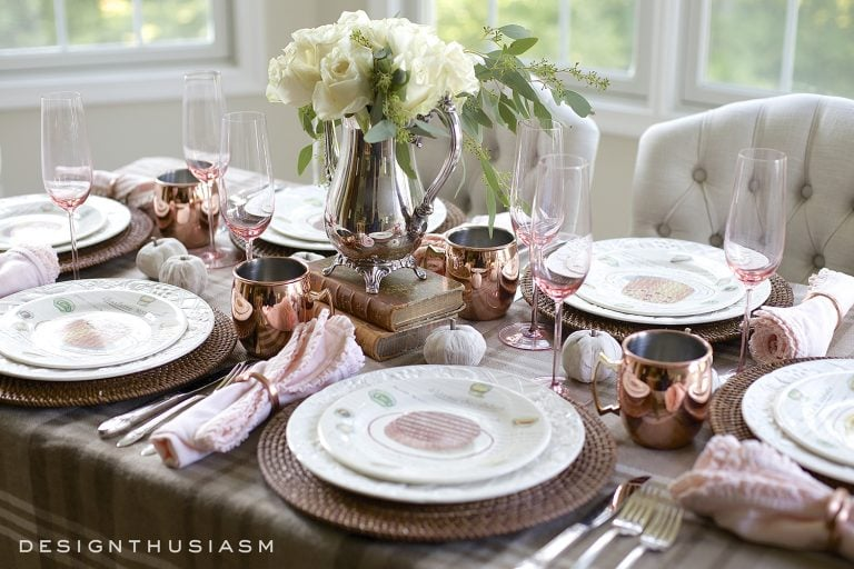 Fall Dining Room Ideas - Neutral Fall Table Setting by Designthusiasm