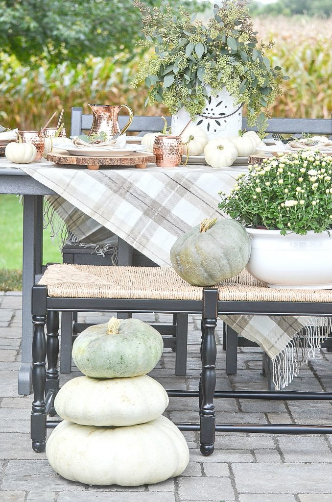 Fall Dining Room Ideas - Outdoor Copper and Green Tablescape by Stone Gable Blog