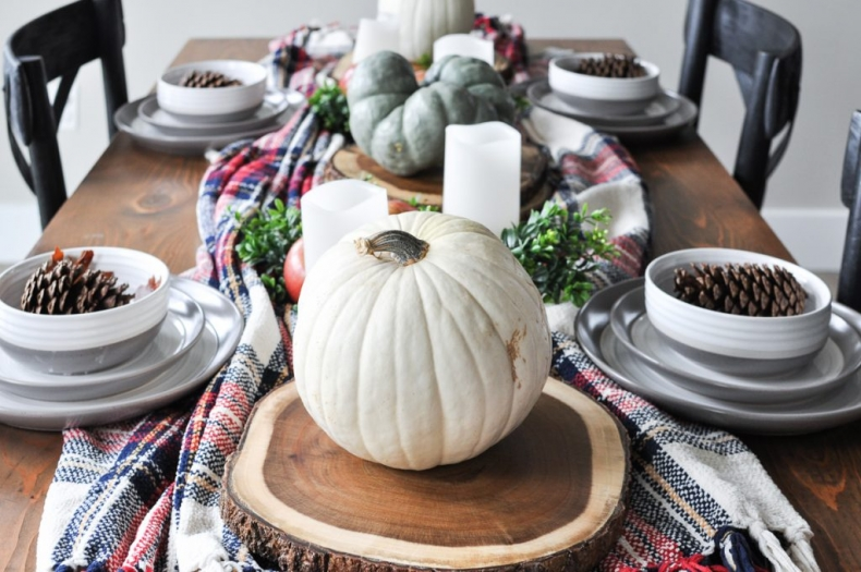 Fall Dining Room Ideas - Simple and Cozy Fall Tablescape by Cherished Bliss