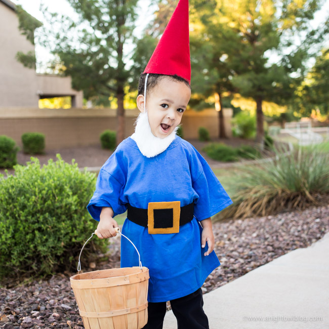 Halloween Costume Ideas - No-Sew Garden Gnome by A Night Owl Blog