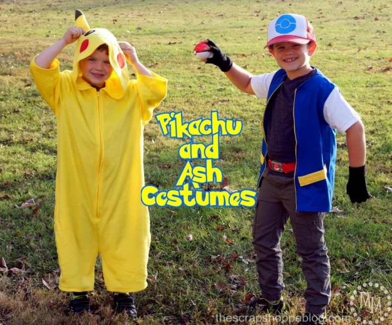 Halloween Costume Ideas - Pikachu and Ash Ketchum Costumes by The Scrap Shoppe Blog