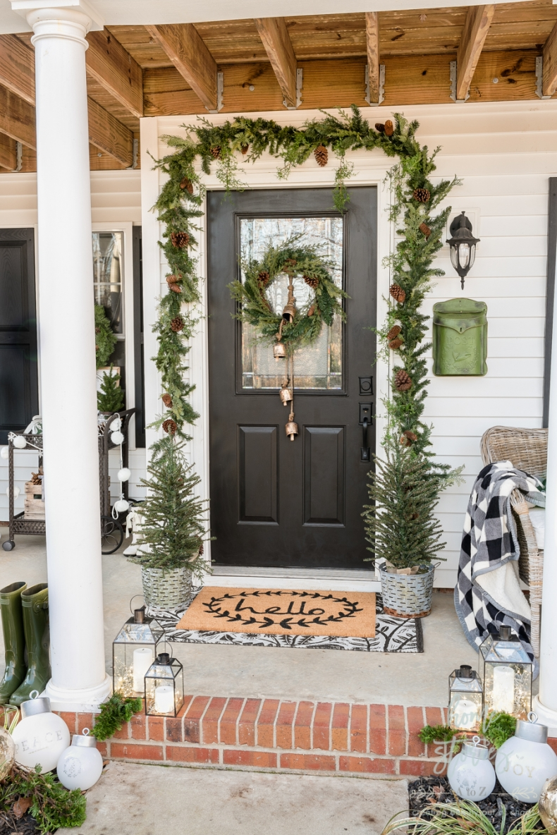 Beautiful Christmas Porch Ideas - Farmhouse Christmas Porch by Home Stories A to Z