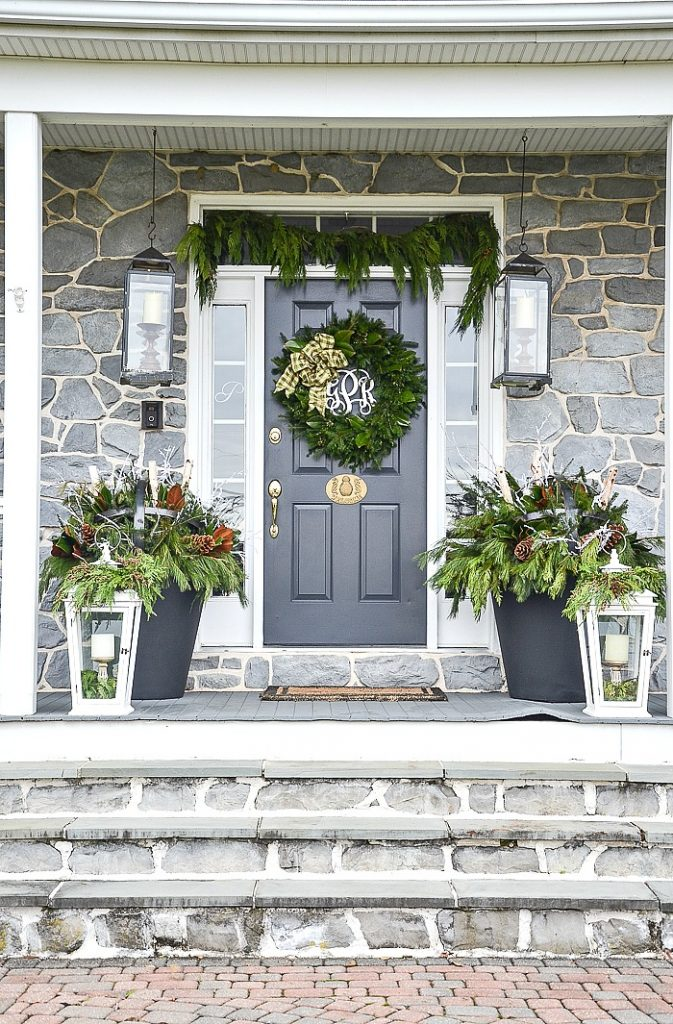 Beautiful Christmas Porch Ideas - Outdoor Christmas Planters by Stone Gable Blog