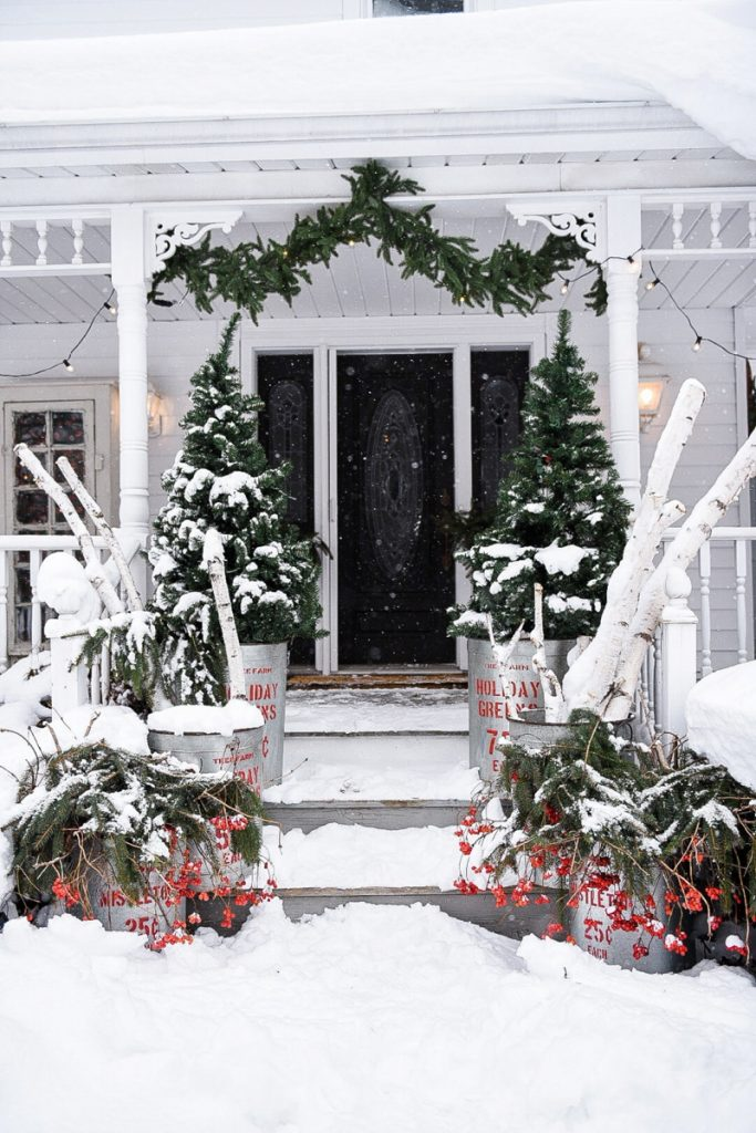 Beautiful Christmas Porch Ideas - Rustic Christmas Porch Steps by Liz Marie Blog