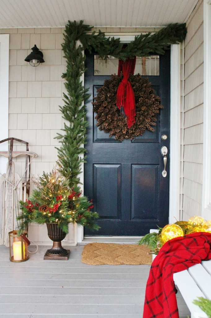 Beautiful Christmas Porch Ideas - Woodland Inspired Front Porch by City Farmhouse
