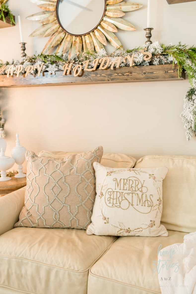 Beautiful and Easy Christmas Decor Ideas - Change your Couch Cushions by Home Stories A to Z