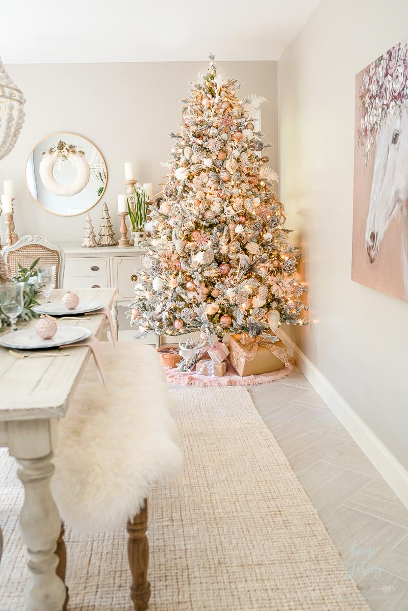 Beautiful Blush Christmas Table Setting