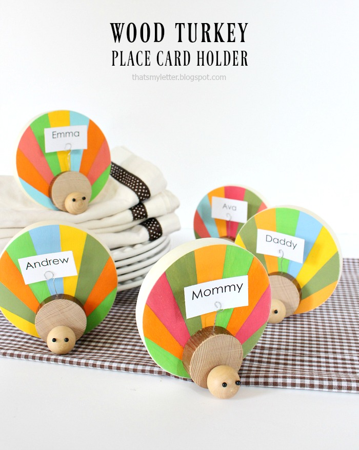 Thanksgiving Place Setting Idea - DIY Wood Turkey Place Card Holder by Lolly Jane
