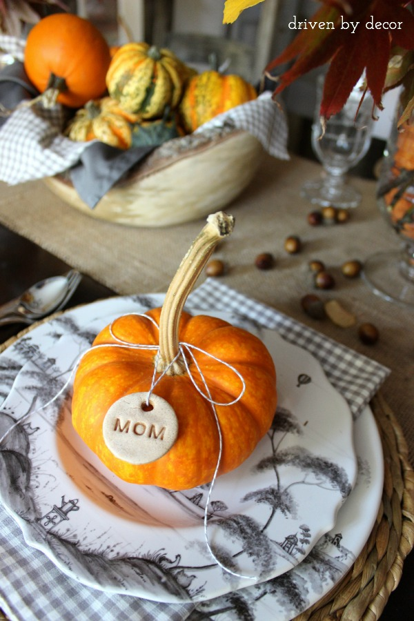 Thanksgiving Place Setting Idea - Salt Dough Place Tags by Driven by Decor