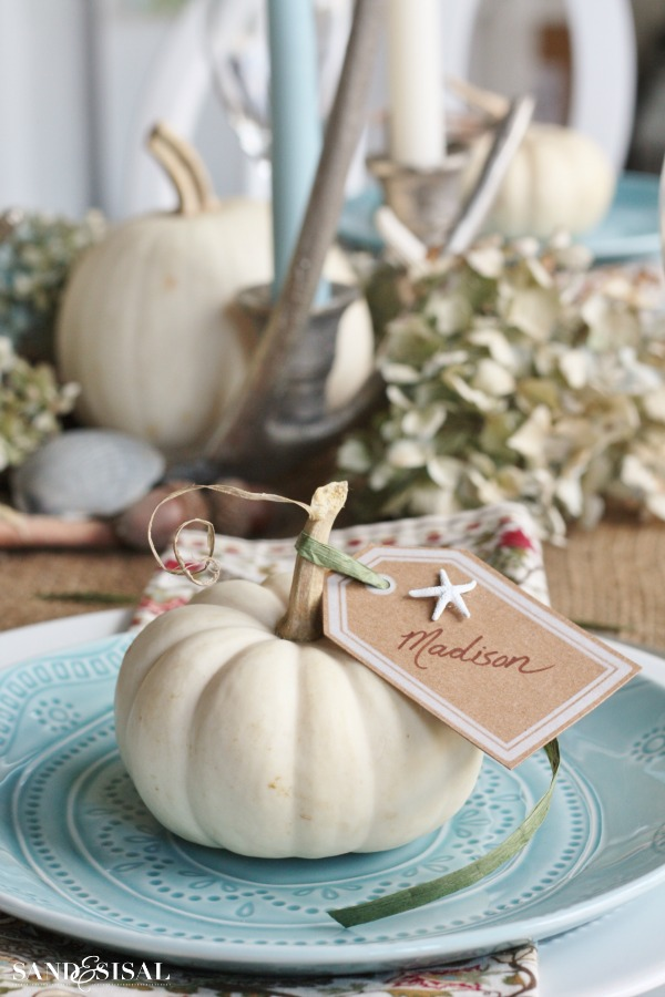 Thanksgiving Place Setting Ideas - Coastal Thanksgiving Table by Sand & Sisal