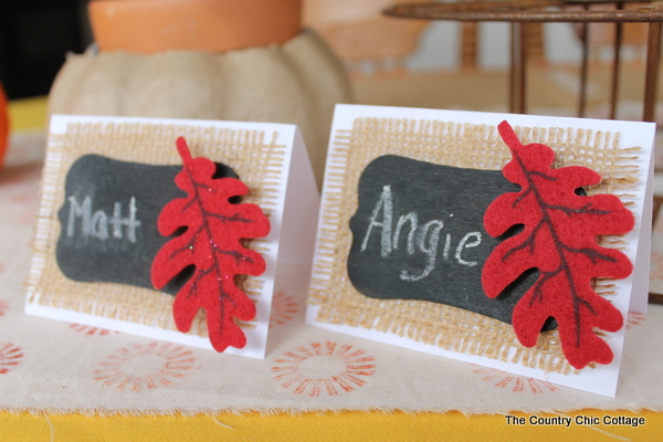 Thanksgiving Place Setting Ideas - DIY Burplap Thanksgiving Placecards by Country Chic Cottage